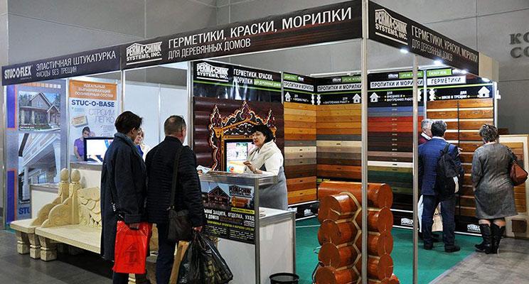 Совместный стенд компаний Perma-Chink и FaMa Profi Centre на выставке «Деревянный дом. Весна 2020»